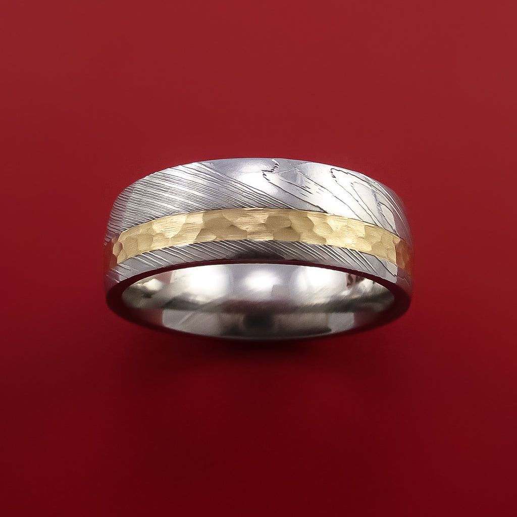 Damascus Steel 14K Yellow Gold Ring Wedding Band Custom Made Hammer Finish - Stonebrook Jewelry  - 2