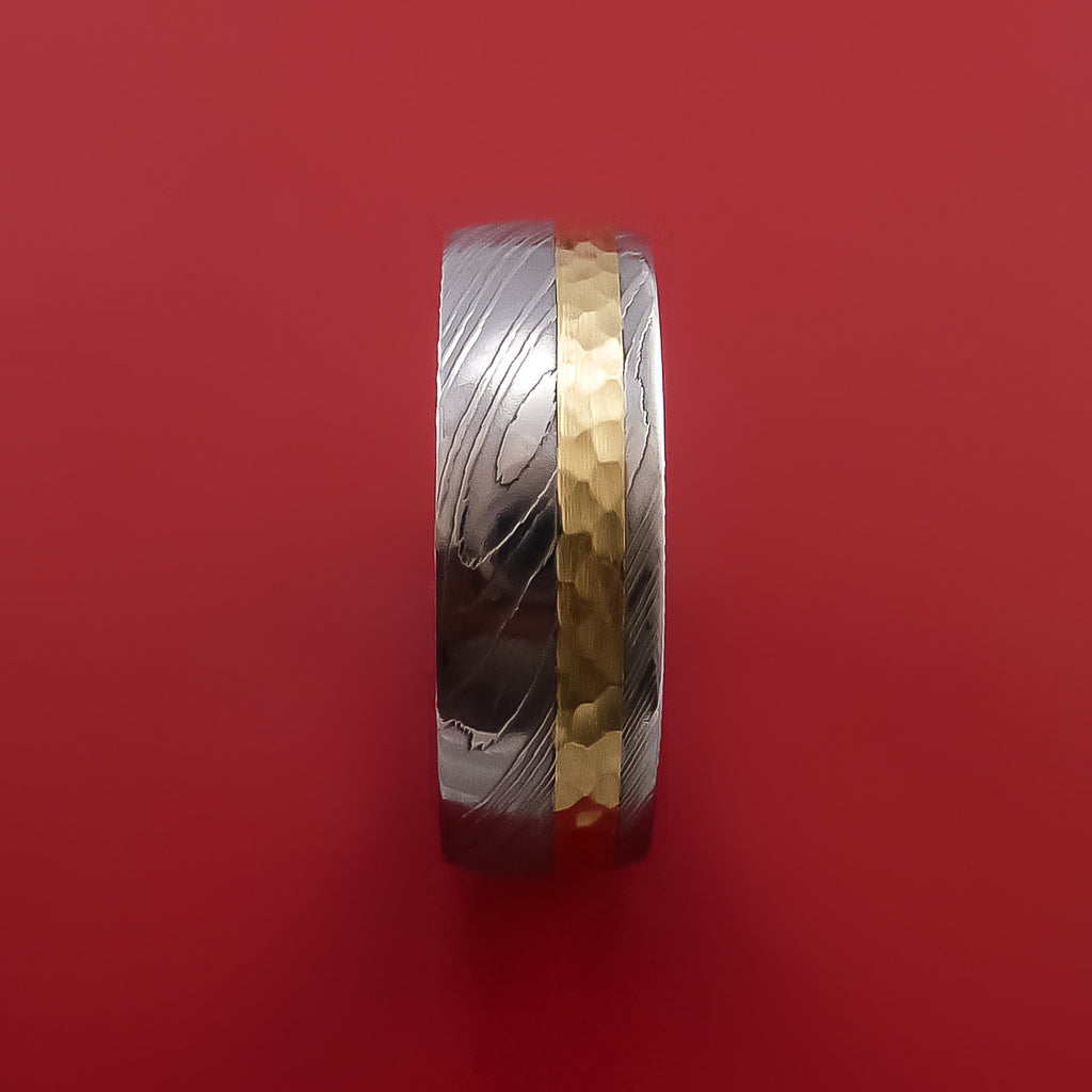 Damascus Steel 14K Yellow Gold Ring Wedding Band Custom Made Hammer Finish by Stonebrook Jewelry