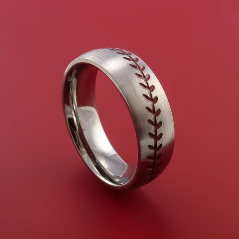 Titanium Baseball Ring with Red Stitching Fan Band Any Size and Color Red, Green, Blue Inlay - Stonebrook Jewelry  - 1