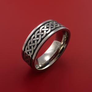 Titanium Ring with Infinity Knot Etched Celtic Design Inlay Custom Made Band