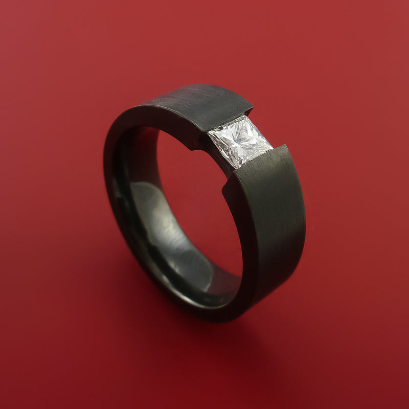 Black Zirconium Ring Tension Setting Band with Princess Cut Moissanit