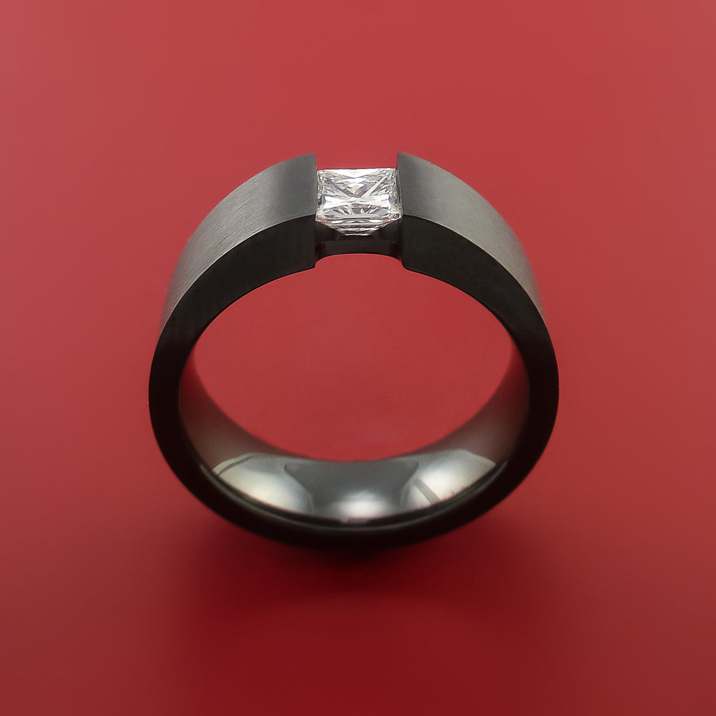 Black Zirconium Ring Tension Setting Band With Princess