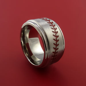 Wide Titanium Ring with Baseball Stitching and Cerakote Inlays Custom Made Band