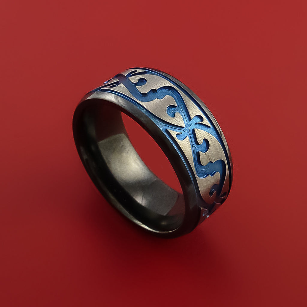 Black Zirconium Ring with Milled Celtic Design and Anodized Inlays Custom Made Band