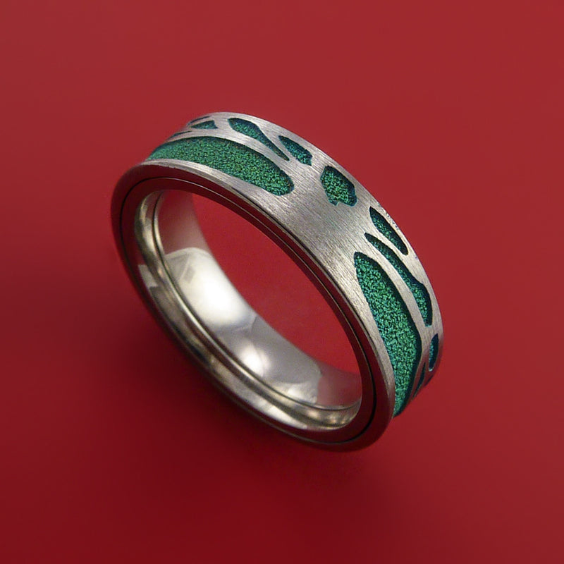 Titanium Spinner Ring with Two-Tree Laser-Etched Pattern and Anodized Inlays Custom Made Band