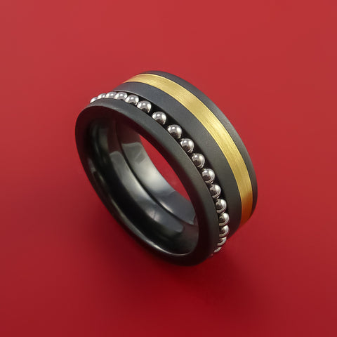 Black Zirconium and 14K Yellow Gold Ring with Spinning Ball Bearings