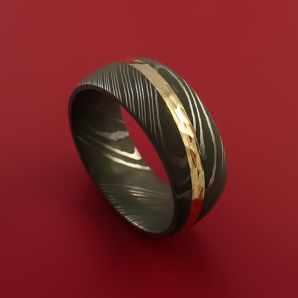 Damascus Steel Diagonal 14k Yellow Gold Ring Wedding Band