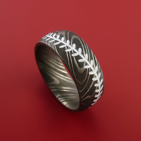 Damascus Steel Baseball Ring with White Stitching Acid Wash Finish