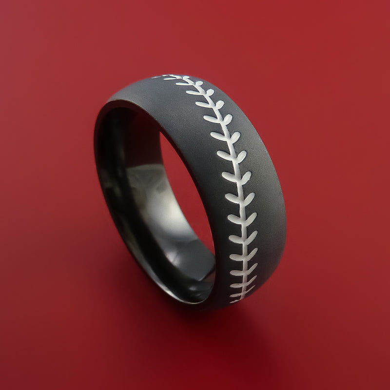 Black Zirconium Baseball Ring with White Stitching and Bead Blast Finish