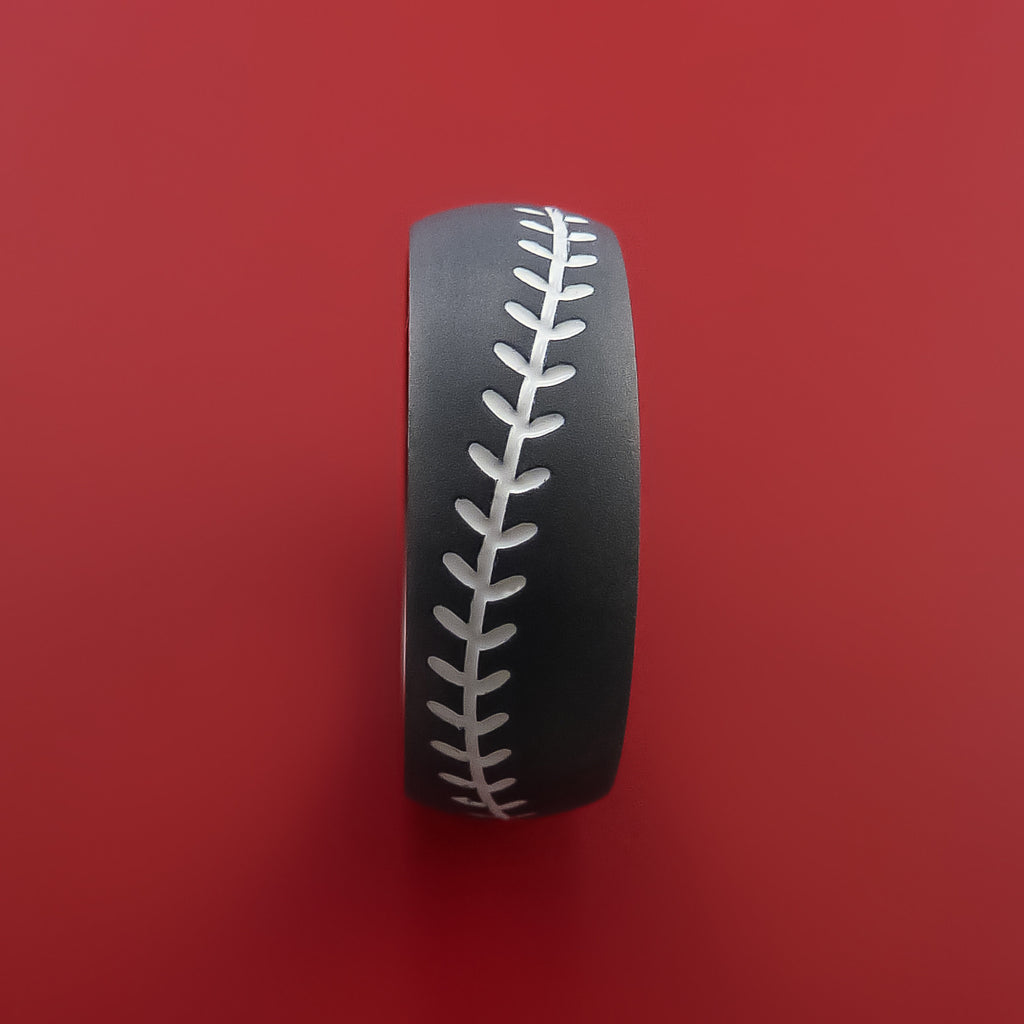Black Zirconium Baseball Ring with White Stitching and Bead Blast Finish by Stonebrook Jewelry