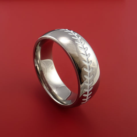 Titanium Baseball Ring with White Stitching Fan Band Any Size and Color