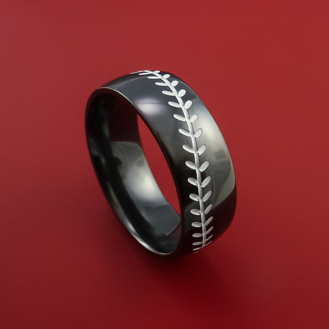Black Zirconium Baseball Ring with White Stitching and Polish Finish