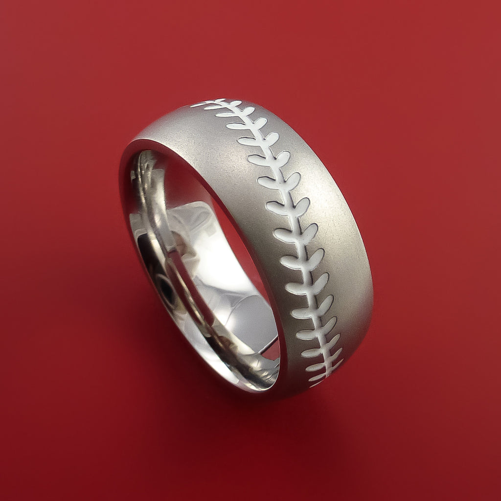 Cobalt Chrome Baseball Ring with White Stitching Fan Band Any Size and Color by Stonebrook Jewelry