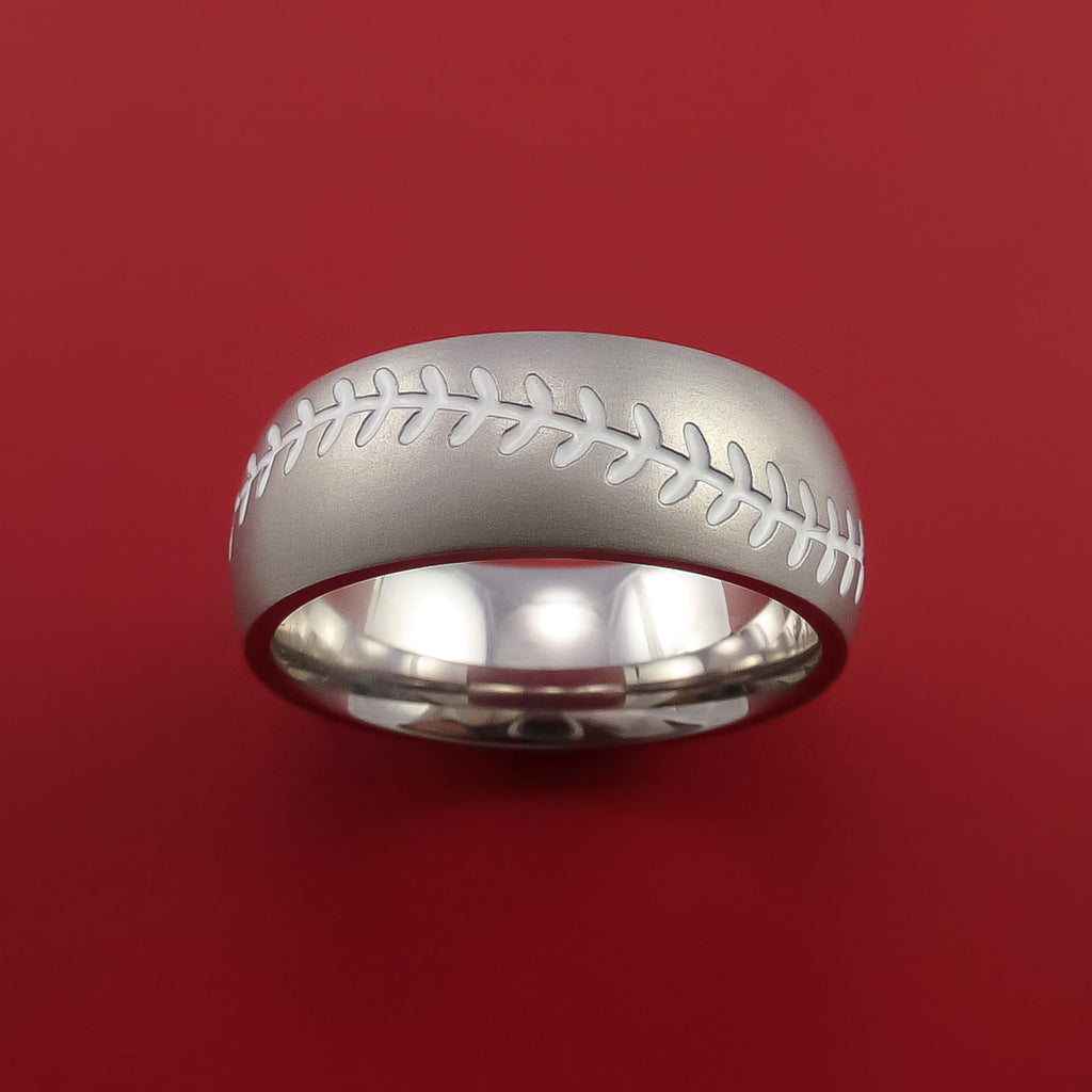 Cobalt Chrome Baseball Ring with White Stitching Fan Band Any Size and Color - Stonebrook Jewelry  - 2