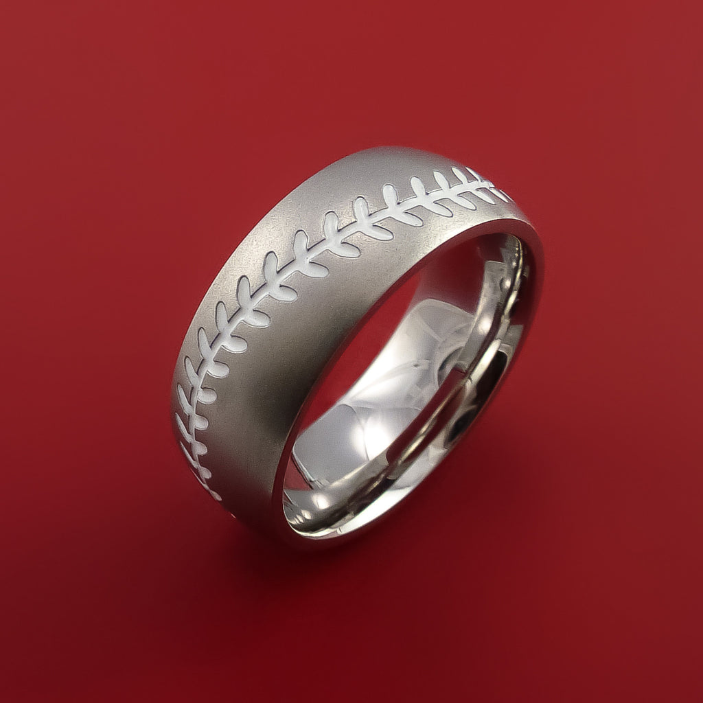 Cobalt Chrome Baseball Ring with White Stitching Fan Band Any Size and Color - Stonebrook Jewelry  - 3