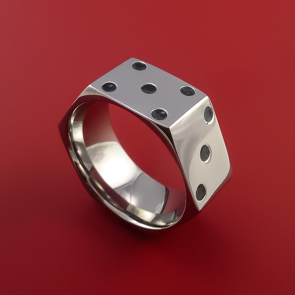 Cobalt Chrome Dice Ring High Roller Gambler Inspired Ring