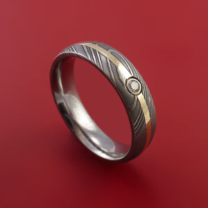 Damascus Steel Ring with 14k Yellow Gold Inlay and Diamond Custom Made Band