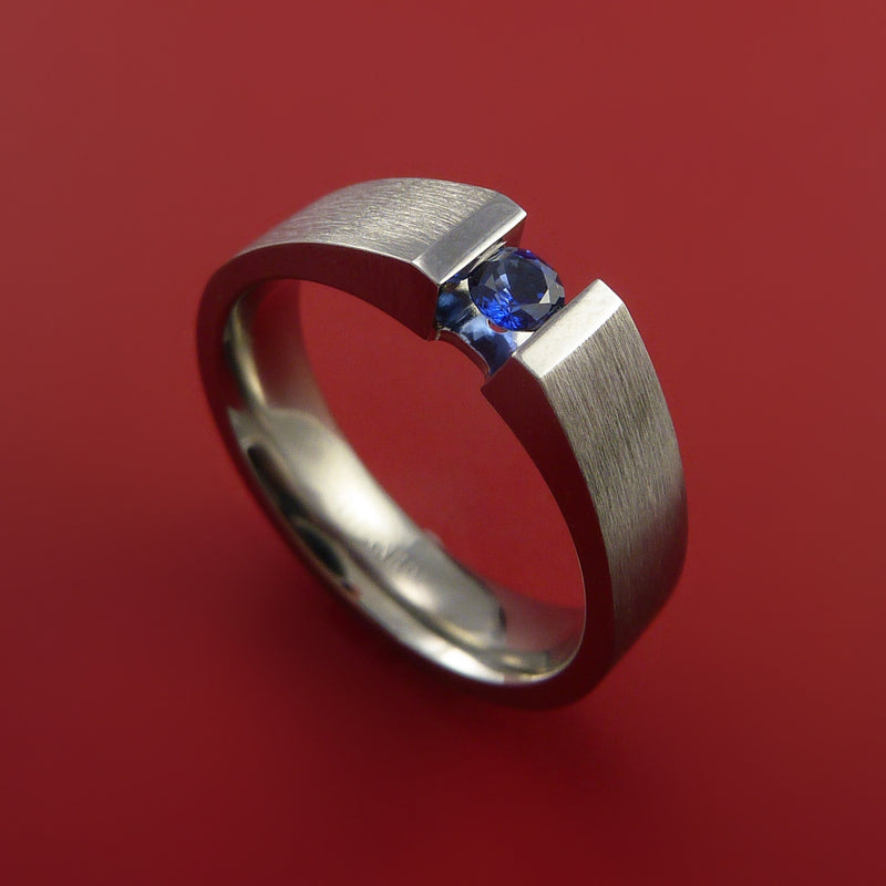 Titanium Ring Tension Set Band with Round Blue Sapphire Stone