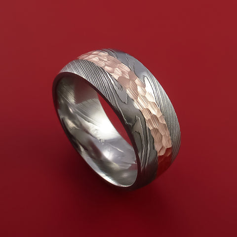 Damascus Steel Ring with 14k Rose Gold Inlay Custom Made Men s Wedding Band  – Stonebrook Jewelry 9d655ab8a