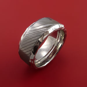Hammered Cobalt Chrome Ring with Damascus Steel Inlay Custom Made Band