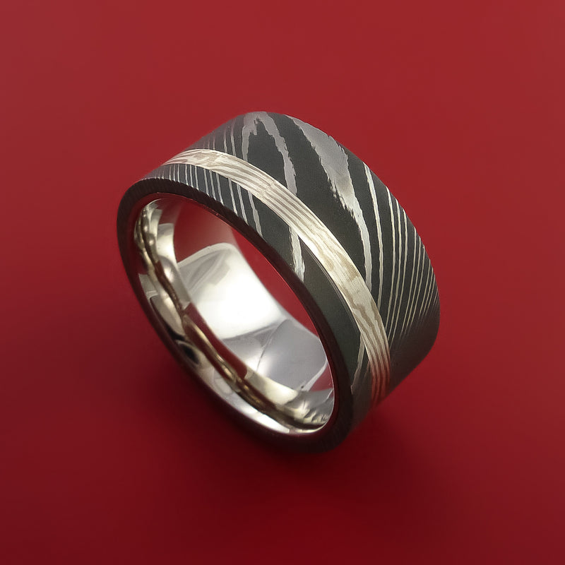 Wide Damascus Steel and Mokume Ring with Palladium Sleeve Wedding Band Custom Made