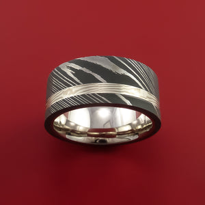 Wide Damascus Steel Ring with Palladium and Sterling Silver Mokume Gane Inlay and Interior 14k White Gold Sleeve Custom Made Band