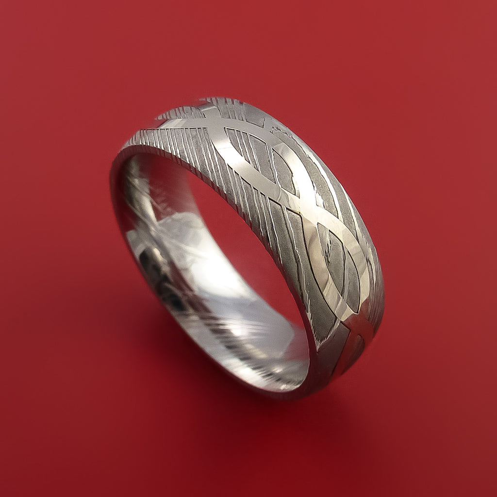 Damascus Steel Ring with 14K White Gold Inlay Custom Made Band
