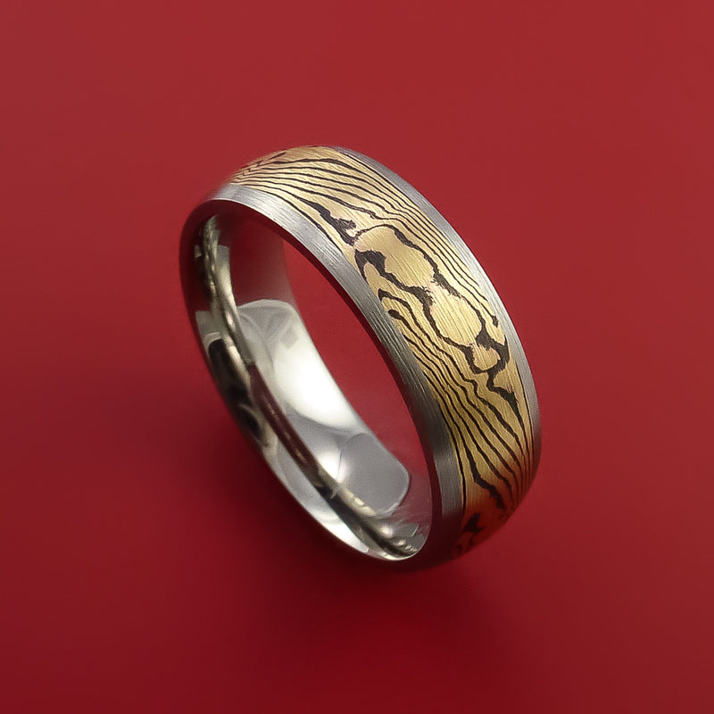 Titanium and 18K Yellow Gold Mokume Ring Custom Made to Any Size