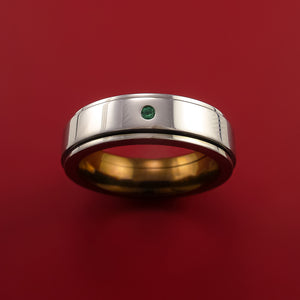 Genuine Ruby and Emerald Titanium Anodized Spinner Style Custom Made Ring