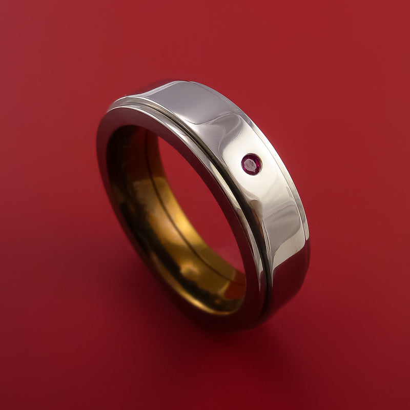 Genuine Ruby and Emareld Titanium Anodized Spinner Style Custom Made Ring