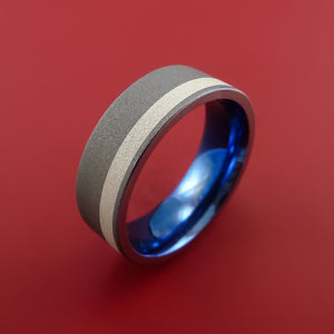 Titanium Ring with Silver Inlay Wedding Band Anodized Blue Inside Made to Any Size
