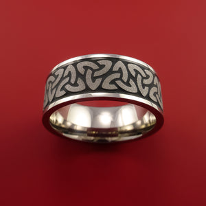 Titanium Ring with Trinity Milled Celtic Design and Cerakote Inlays Custom Made Band
