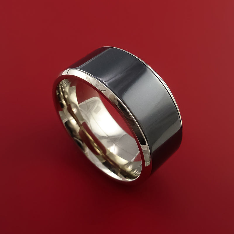 14K White Gold and Black Zirconium Wedding Band