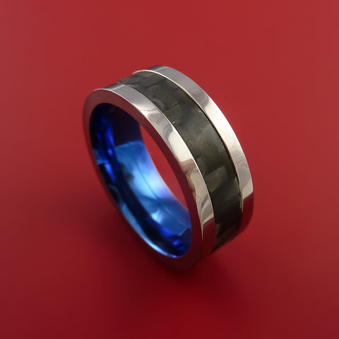 Titanium Ring with Carbon Fiber Inlay with Weave Pattern and Anodized Interior