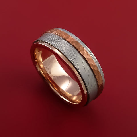 Damascus Steel 14K Gold Ring with Hammered Copper Inlay by Stonebrook Jewelry