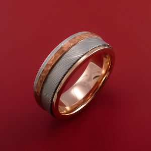 Damascus Steel Ring with Copper Inlay and Interior 14k Rose Gold Sleeve Custom Made Band
