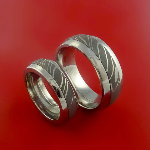 Matching Stainless Surgical Steel and Damascus Steel Bands Custom Made Ring to Any Sizing