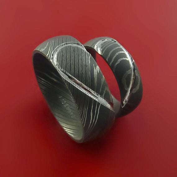 Matching Damascus Steel Heart Carved Ring Set Wedding Bands Genuine Craftsmanship