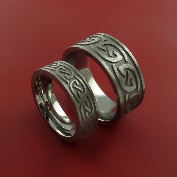 Titanium Celtic Infinity Ring Set Symbolic Wedding Bands Custom Made