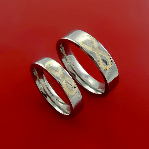 Yellow Gold Infinity Symbol and Titanium Matching Rings Wedding Band Set Sizes 3-22