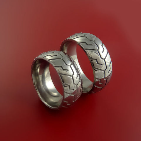 Titanium Carved Design Ring Set Bold Unique Bands Custom Made to Any Sizing