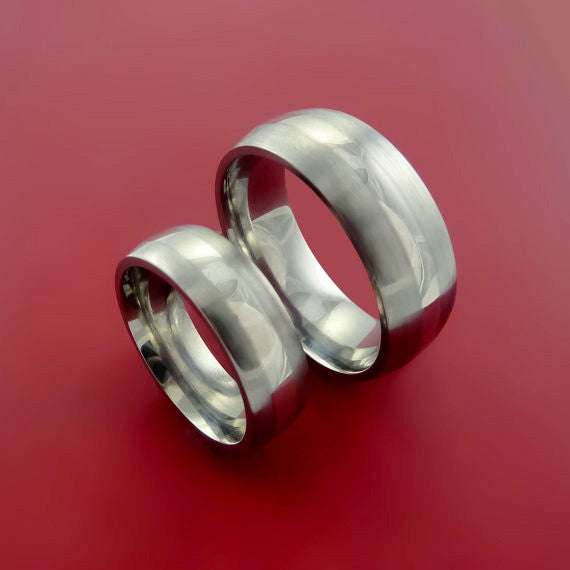 Palladium and Titanium Matching Ring Wedding Band Set Sizes 3-22