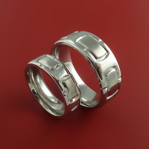 Cobalt Chrome Matching Set Unique Link Ring Set Bright Comfortable Bands Made to Any Sizing and Finish