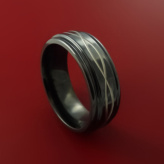 Black Zirconium Celtic Band Infinity Symbolic Wedding Ring Custom Made