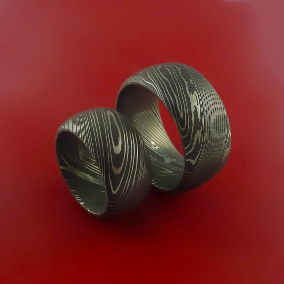 Matching Damascus Steel Wide Ring Set Acid Finish Wedding Bands Genuine Craftsmanship