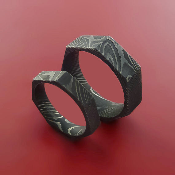Damascus Steel Ring Heptagon Shape Acid Waive Pattern Wedding Band Set