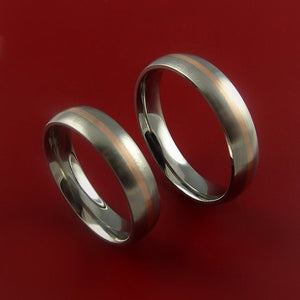 Rose Gold and Titanium Matching Rings Wedding Band Set Sizes 3-22