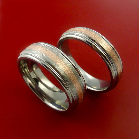 and polished pin ct wedding matching gold white hers rings his attractive wide
