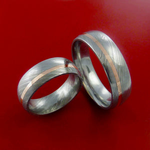 Matching Set 14k Rose Gold Damascus Steel Rings Wedding Bands