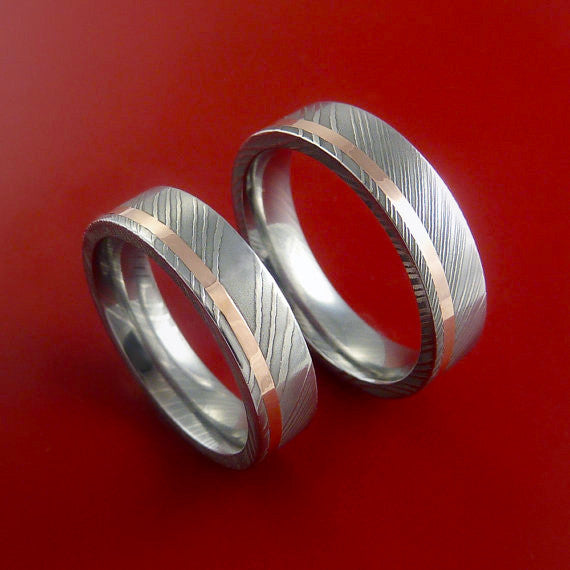 Matching Set 14k Rose Gold Damascus Steel Ring Wedding Bands